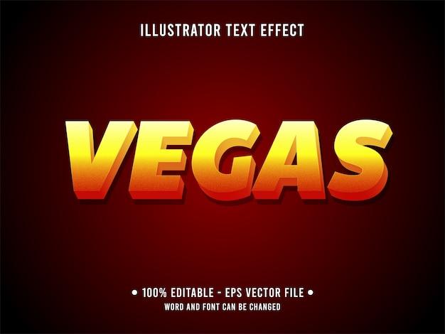 Edytowalny efekt tekstowy vegas w nowoczesnym stylu z gradientem koloru pomarańczowego