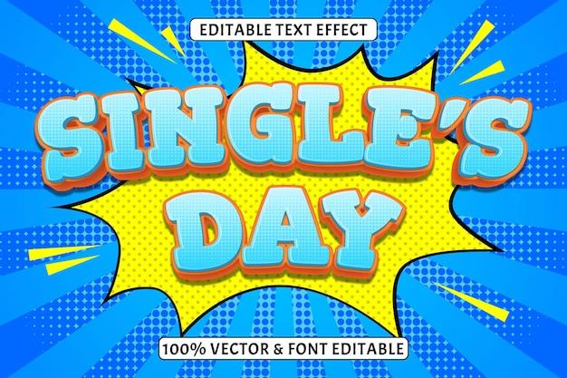 Edytowalny efekt tekstowy w 3 wymiarowym stylu komiksowym na dzień singli
