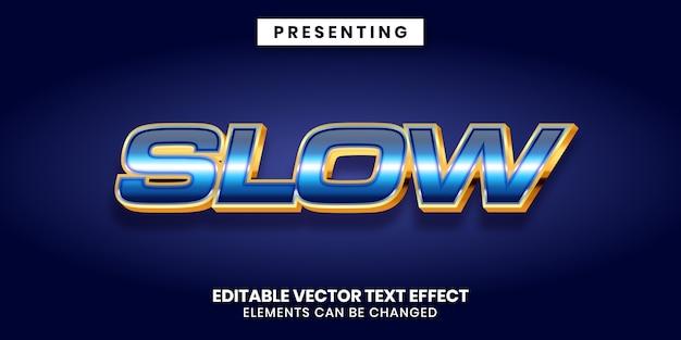 Edytowalny efekt tekstowy w błyszczącym niebieskim i złotym metalicznym stylu