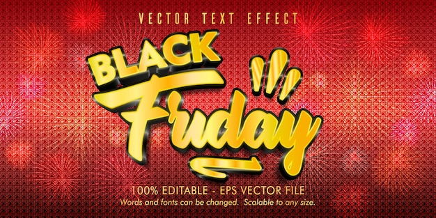 Edytowalny efekt tekstowy w czarny piątek