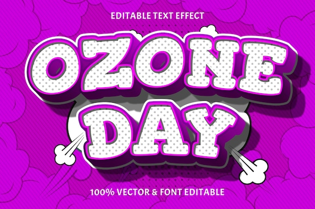 Edytowalny efekt tekstowy w dniu ozonu 3 wymiary wytłoczony styl komiksowy