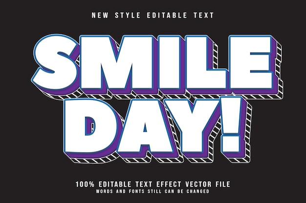 Edytowalny efekt tekstowy w dniu uśmiechu wytłoczony w nowoczesnym stylu