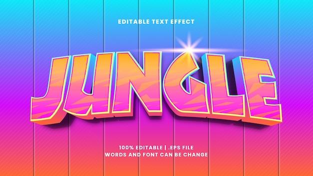 Edytowalny efekt tekstowy w dżungli w nowoczesnym stylu 3d