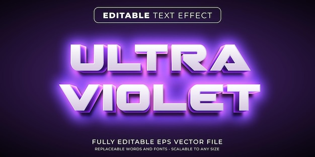 Edytowalny efekt tekstowy w intensywnym ultrafioletowym stylu neonowym