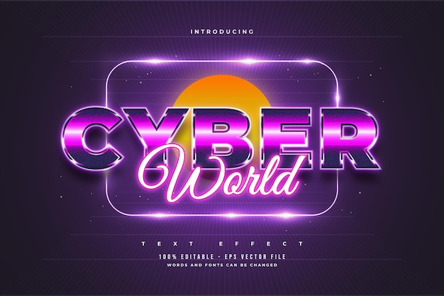 Edytowalny efekt tekstowy w kolorowym stylu cyber i efekt świecącego neonu