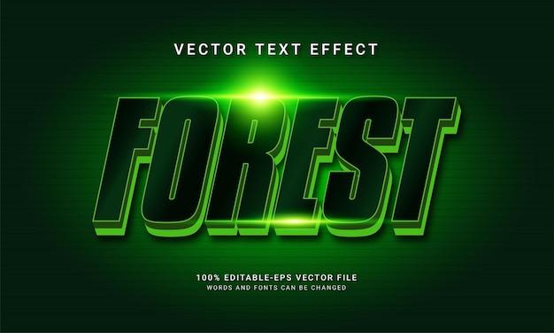 Edytowalny efekt tekstowy w lesie z zielonym kolorem
