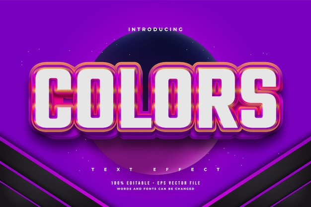 Edytowalny efekt tekstowy w pogrubionym, kolorowym stylu z efektem wytłoczenia