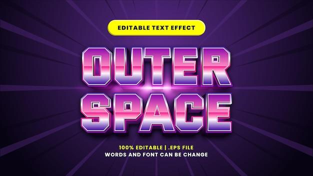 Edytowalny efekt tekstowy w przestrzeni kosmicznej w nowoczesnym stylu 3d