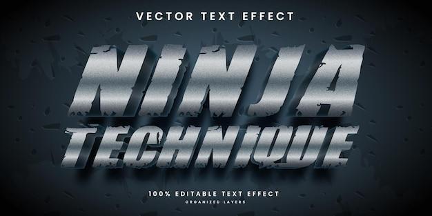 Edytowalny efekt tekstowy w srebrnym kolorze metalicznego wektora premium w stylu ninja