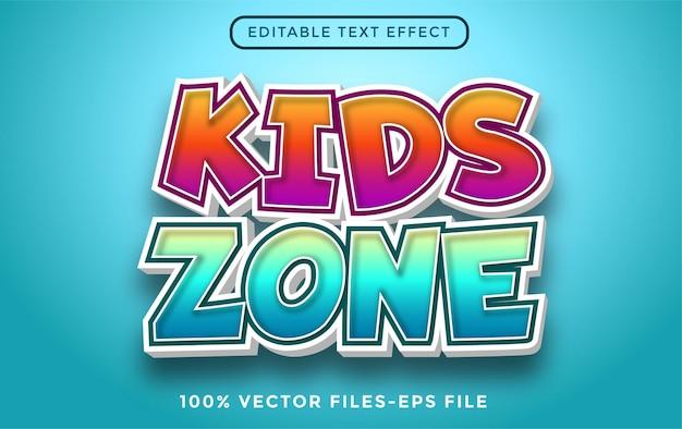 Edytowalny efekt tekstowy w strefie dla dzieci wektory premium z kreskówek