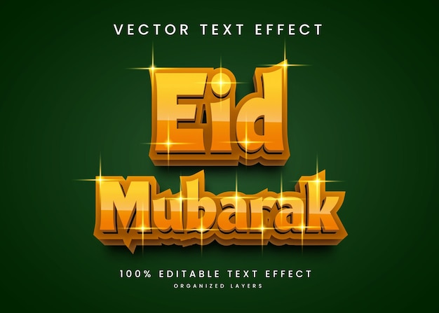 Edytowalny efekt tekstowy w stylu eid mubarak