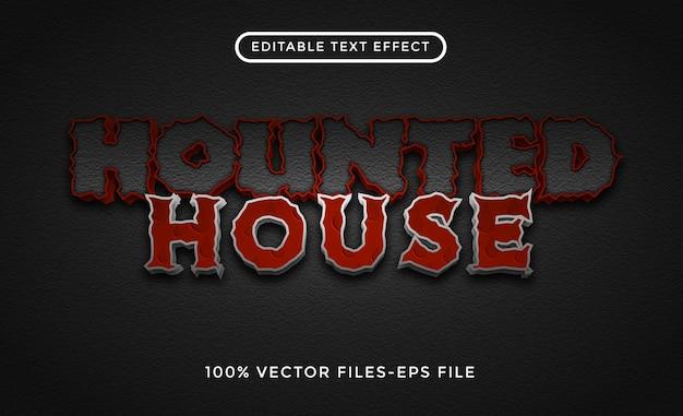Edytowalny efekt tekstowy w stylu nawiedzonego domu w stylu przerażenia premium wektorów