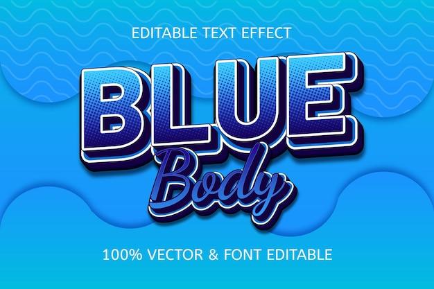 Edytowalny efekt tekstowy w stylu niebieskiego ciała