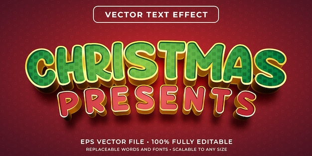 Edytowalny efekt tekstowy w stylu prezentów świątecznych