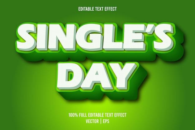 Edytowalny efekt tekstowy w stylu retro w kolorze zielonym i białym w dniu singli