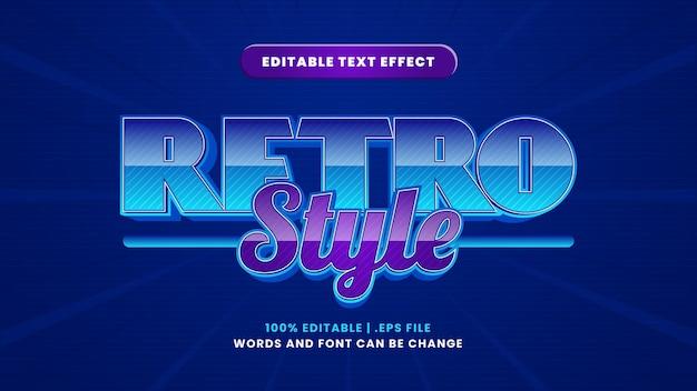 Edytowalny efekt tekstowy w stylu retro w nowoczesnym stylu 3d
