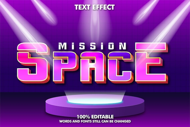 Edytowalny efekt tekstowy w stylu retro z lat 80. nowoczesny futurystyczny efekt tekstowy z oświetleniem