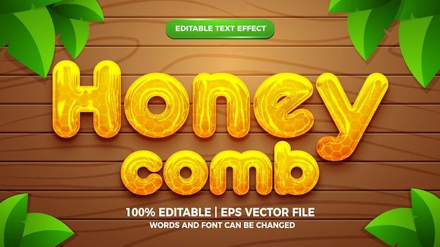 Edytowalny efekt tekstowy w stylu szablonu 3d w płynnym plastrze miodu