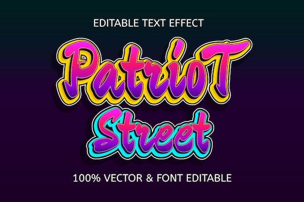 Edytowalny efekt tekstowy w stylu ulicznym patriot