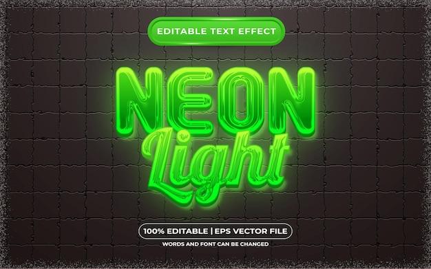 Edytowalny efekt tekstowy w stylu zielonego światła neonowego