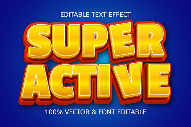 Edytowalny efekt tekstowy w super aktywnym stylu