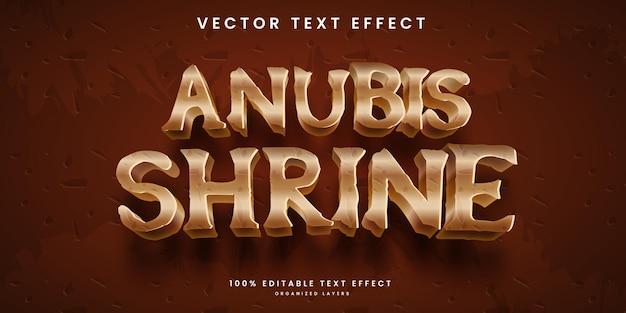 Edytowalny efekt tekstowy w wektorze premium w stylu boga egiptu anubis