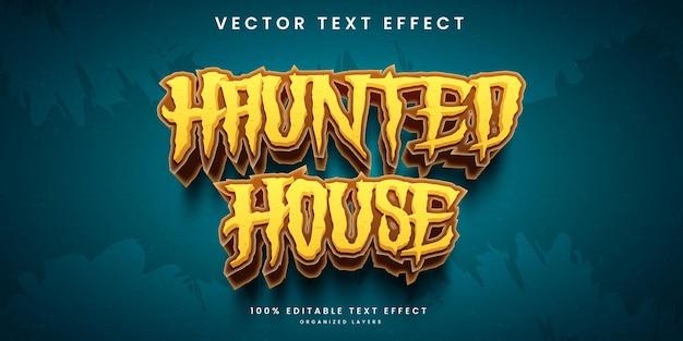 Edytowalny efekt tekstowy w wektorze premium w stylu horroru nawiedzony dom