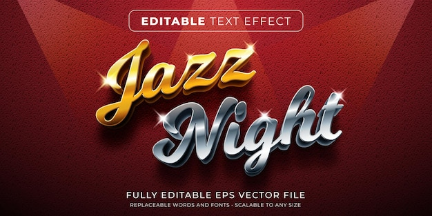 Edytowalny efekt tekstowy w złotym i srebrnym stylu muzycznym