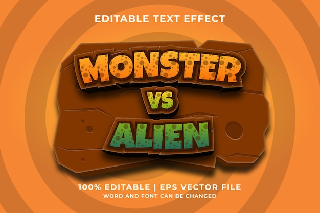Edytowalny efekt tekstowy - wektor premium w stylu szablonu monster vs alien 3d