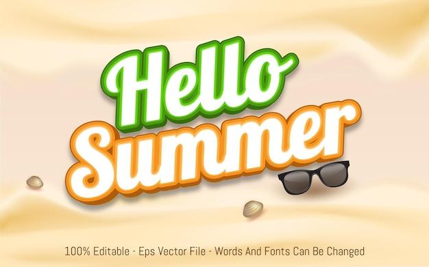 Edytowalny efekt tekstowy witaj lato