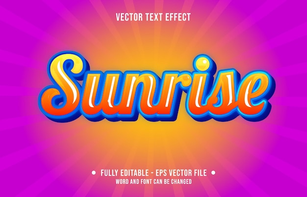 Edytowalny efekt tekstowy wschód słońca gradient w stylu artystycznym pomarańczowy niebieski kolor