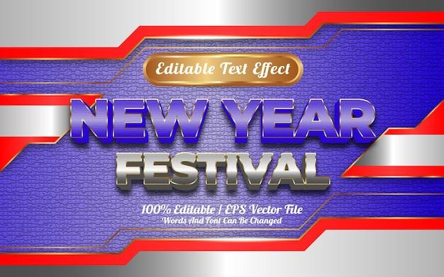Edytowalny efekt tekstowy z motywem festiwalu szczęśliwego nowego roku