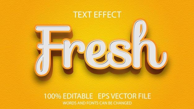 Edytowalny efekt tekstowy z pomarańczowym świeżym szablonem