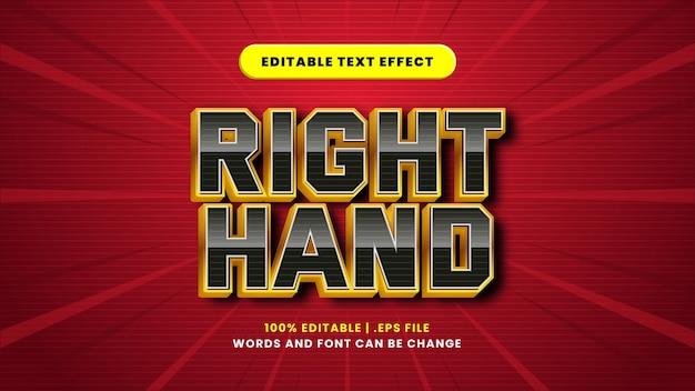 Edytowalny efekt tekstowy z prawej strony w nowoczesnym stylu 3d