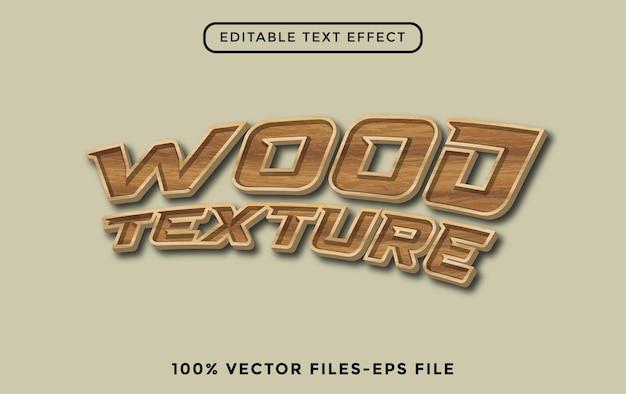 Edytowalny efekt tekstowy z wektorami premium tekstury drewna