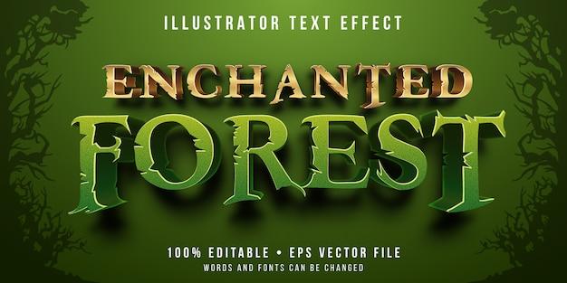 Edytowalny efekt tekstowy - zaczarowany styl lasu