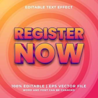 Edytowalny efekt tekstowy - zarejestruj się teraz 3d szablon wektor premium w stylu