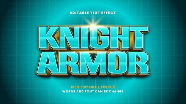 Edytowalny efekt tekstowy zbroi rycerza w nowoczesnym stylu 3d