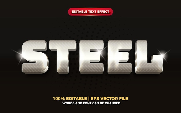 Edytowalny efekt tekstowy ze stali metalowej 3d