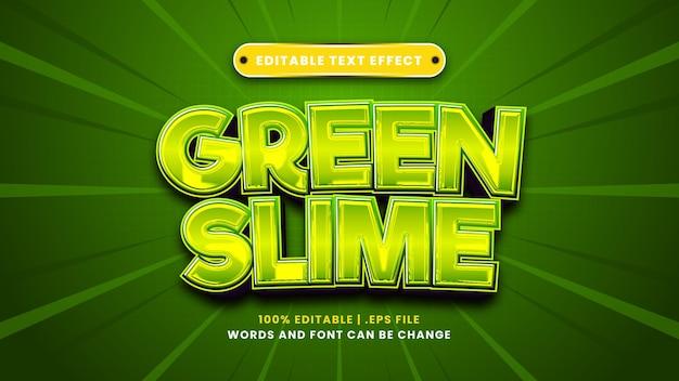 Edytowalny efekt tekstowy zielonego śluzu w nowoczesnym stylu 3d