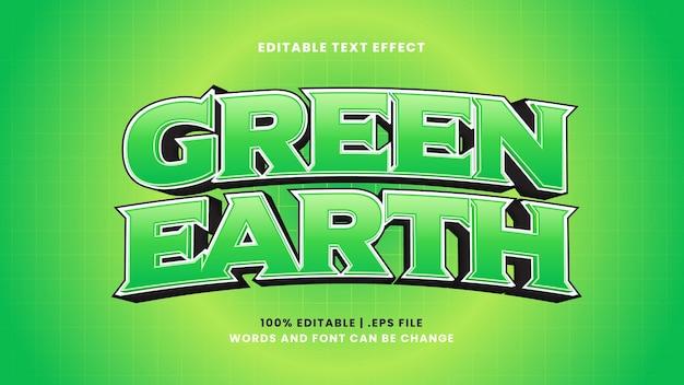 Edytowalny efekt tekstowy zielonej ziemi w nowoczesnym stylu 3d