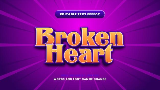Edytowalny efekt tekstowy złamanego serca w nowoczesnym stylu 3d