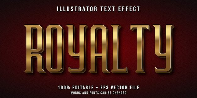 Edytowalny efekt tekstowy - złoty styl królewski
