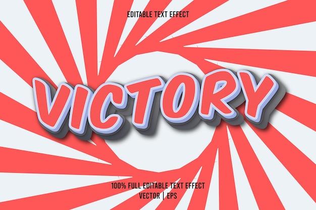 Edytowalny efekt tekstowy zwycięstwa w kolorze czerwonym i szarym