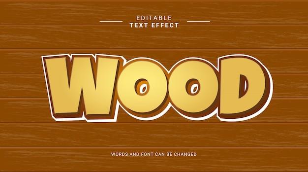 Edytowalny efekt tekstu drewno żółty kolor czekolady odważna koncepcja