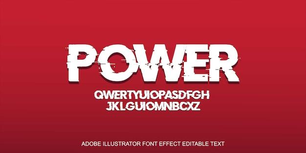 Edytowalny efekt tekstu mocy na czerwono