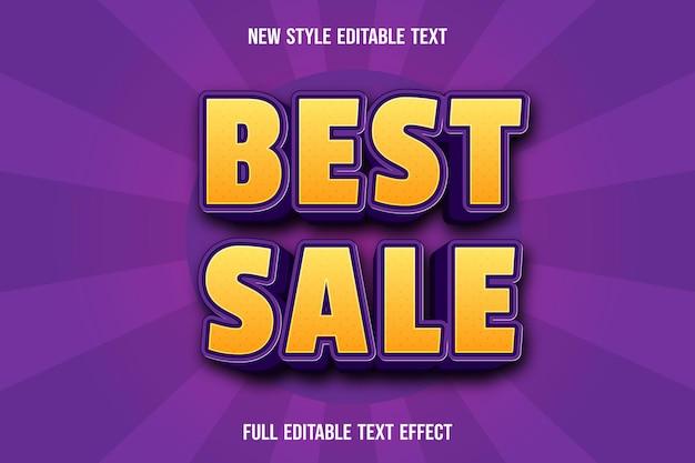Edytowalny efekt tekstu najlepsza sprzedaż kolor żółty i fioletowy