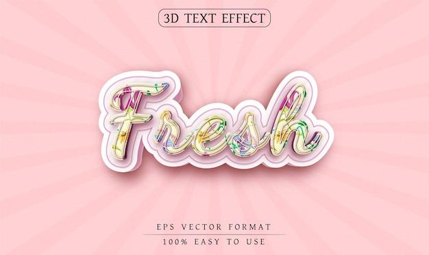 Edytowalny efekt tekstu świeży styl tekstu