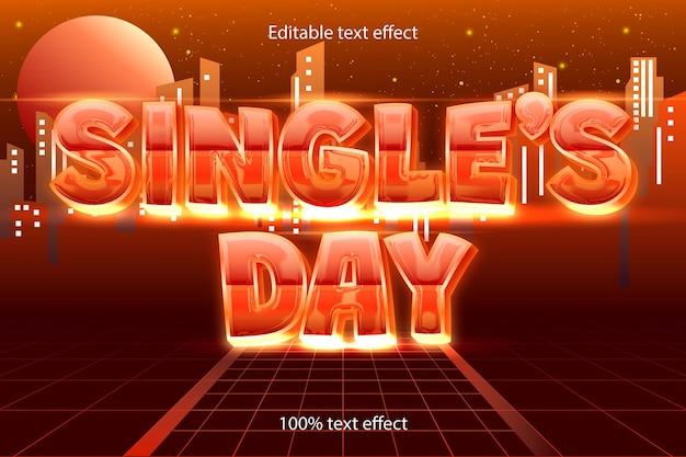 Edytowalny efekt tekstu w dniu singli w stylu retro w nowoczesnym stylu
