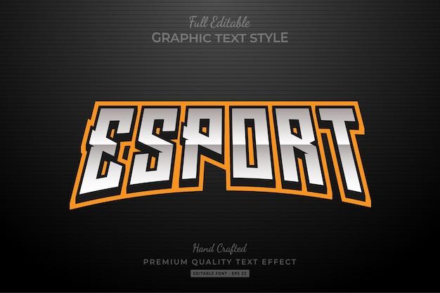 Edytowalny efekt tekstu w kolorze pomarańczowym esport